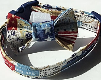 Liberty and Justice  Patriotic Collar &  Bow Tie Set for Male Dogs and Cats