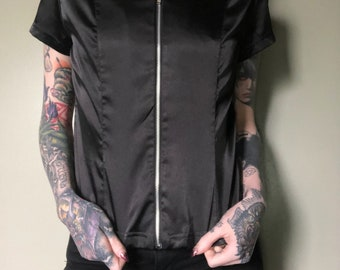 Zip Up Vintage 70's/80's Satin Shirt from Personal Collection