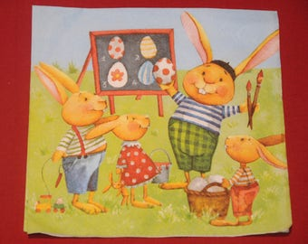 "theme ""bunnies"" Easter napkin"