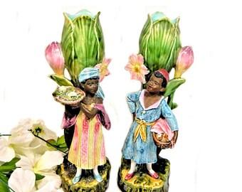 A Pair of Antique Majolica Blackamoor Children Figural Vases