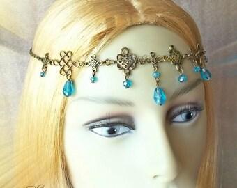 Celtic Princess Turquoise Circlet, Bronze Headdress, Medieval Headpiece, Renaissance Crown, Medieval Wedding, Celtic Costume Jewellery, Larp