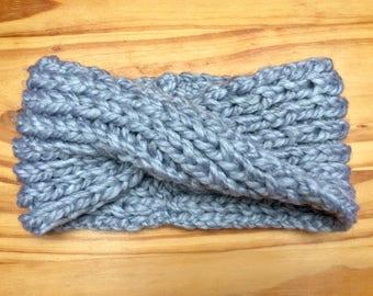 Chunky Knit Wool Ear Warmer Headband || Pewter