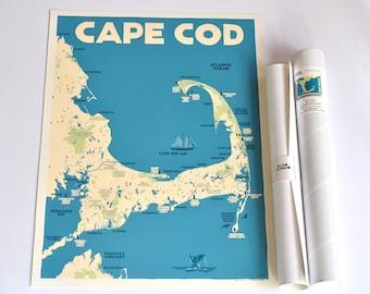 Cape Cod Map 18x24 print © Alan Claude