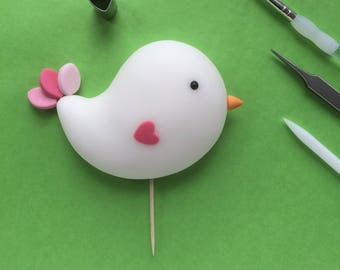 Naive sugar bird cake topper. Handmade to order, in any colour you choose.