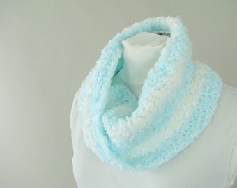 Aqua Ombre Boucle Infinity Scarf - Hand Crocheted Twist Circle Scarf for Woman