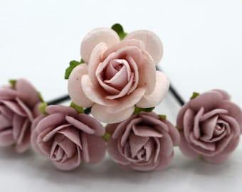 Pink & Purple Roses Hair Pieces, Paper Flower Hair Pins , Bridal Hair Pins, Hair Bobby Pins,rustic wedding,Bridal Hair Accessories (FL380)