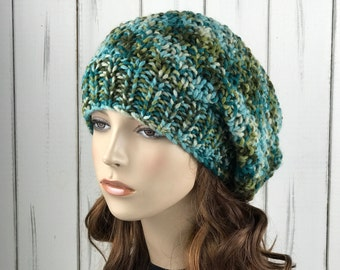 Hand knit woman hat - Oversized Wool Hat, slouchy hat,  green blue blend hat, winter hat