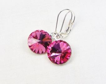 Swarovski Jewelry - October Birthstone - Pink Stone - Swarovski Earrings - Rose Rivoli - Gift For Her - Dangle Earrings