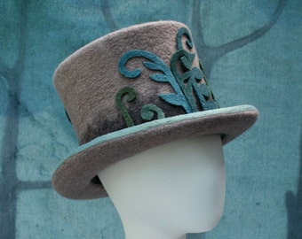 Fern Fiddle Top Hat - Woodland Top Hat - Brown Ombre Top Hat