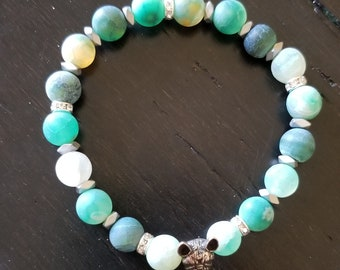 Natural Agate Efforesce Gemstone Frenchie Bracelet with Silver Spacers