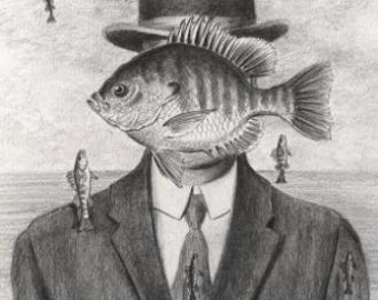 Man in the Bowler Hat Funny Bluegill Fish pencil drawing Magritte Surrealism Parody 8 X 10 Art Print by Barry Singer