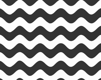 Half Yard Wave - Waves in Black - Cotton Quilt Fabric - RBD Designers for Riley Blake Designs - C415-110 (W3279)
