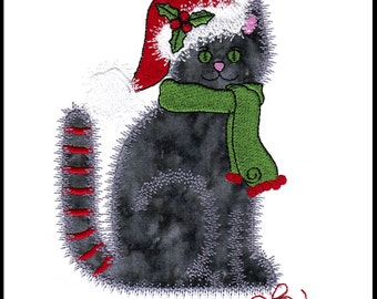 """Christmas Calico Cat applique machine embroidery design. Instant download available. Hoop size must be 5"""" X 5.25"""" or larger."""