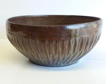 large orange-green-brown bowl