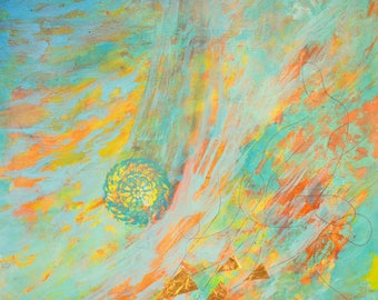 Astronomy space nebula original abstract painting