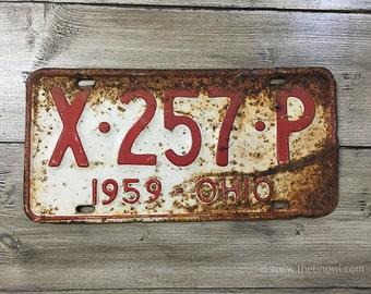 Vintage Ohio License Plate 1959 | Red White Brown Rusty | Man Cave Decor | Old Collectible | For Him | Garage