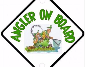 Car On Board sign - Angler On Board Aluminium sign