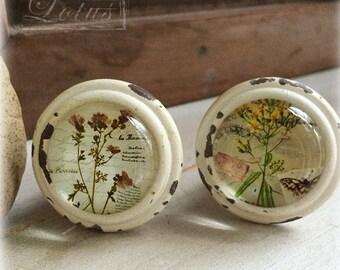 Hand Painted Ceramic  Knob - Cabinet knob - Drawer knob - Drawer pull