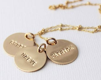 gold names necklace, name tag necklace, stamped words, handstamped names, mothers jewelry, 14k gold filled, personalized name necklace