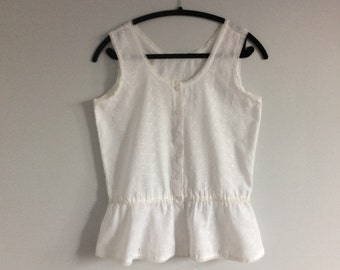 Vintage 50s 60s White Cotton Eyelet Camisole Peplum Top Small