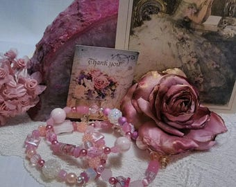 Mother's Day Rose Blush Sparkling Beaded Layering Bracelets, Romantic, Mothers Day,  Shabby Chic Jewelry, Czech Bead, Charm Bracelets