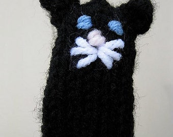 Black Kitty Cat Finger Puppet knitting PATTERN - instant download - permission to sell finished items