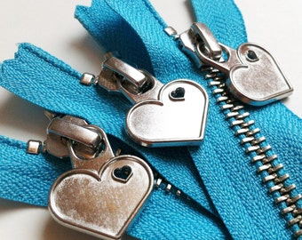 Metal Teeth 7 Inch Zippers with Special Heart Pull - YKK- 3 Pieces- Parrot Blue 547