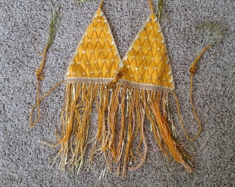 Women's Golden yellow dance/Shimmy Top with tassel end times for neck and back
