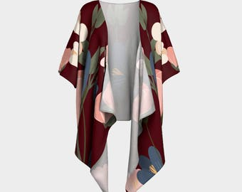 Burgundy Floral Draped Kimono, wrap, gift for her, Canadian made