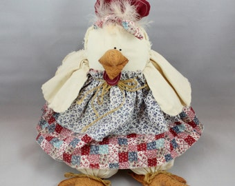 "Adorable vintage stuffed Hen ""Spring Chicken"" Rooster. Great vintage country cotton Easter decoration."