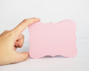 12 Pink Bracket cards, (4.5 x 3.5 inches) textured Cardstock - Featured In Martha Stewart Weddings Dec 2011 A184