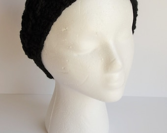 READY TO SHIP**Black crochet ear warmer, crochet headband, cable knit ear warmer, black crochet hat, winter headband, cable headband