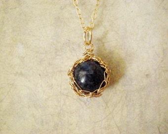Lapis lazuli crochet pendant necklace, 14k gold filled crochet pendant necklace