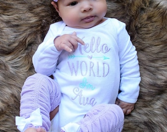 Baby Girl Coming Home Outfit Baby Girl Clothes  Newborn Girl Outfit Hello World Newborn Outfit Baby Girl Outfit Gift Baby Girl Headband