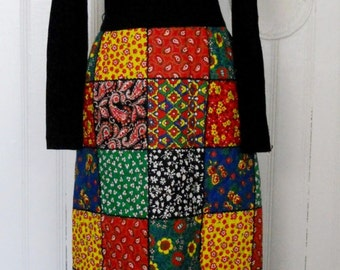 vintage womens JONATHAN LOGAN Colorful Quilt Print full length dress Size S