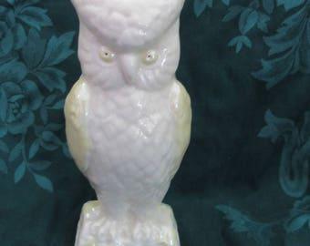Vintage Belleek Owl Spill Vase, Large, Irish Porcelain