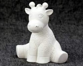 Giraffe Bank - Ceramic Bisque Giraffe - Ready to Paint- U-Paint- Paint Your Own Giraffe Bank - Giraffe Baby - 6 Inch Tall Giraffe Bank -