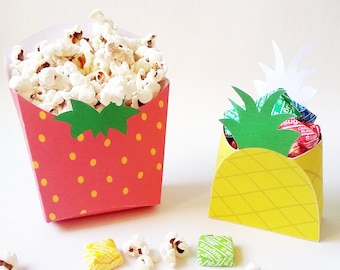 Pineapple favor box and Strawberry popcorn box. Fruit printables. Box pineapple and strawberry for candy and popcorn box. Printable fruits