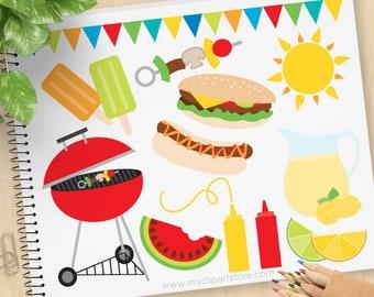 Summer BBQ Clipart, barbecue, picnic, lemonade, hamburgers, hot dogs, ice-cream, watermelon - Commercial Use, Vector clip art, SVG Cut Files