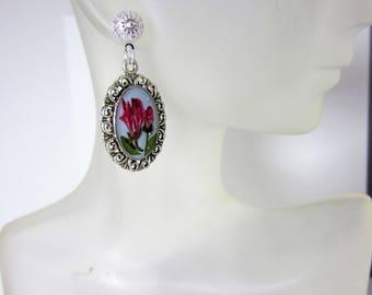 Pink Kalmia  Blossoms,   Post Earrings, Real Flower Earrings, Pressed Flower Jewelry,  Resin (3006)
