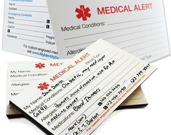 Medical Alert Identification Magnet and Medical Alert Identification Card Thick 400-lb Card Stock - IDMAG-MYIDCRD