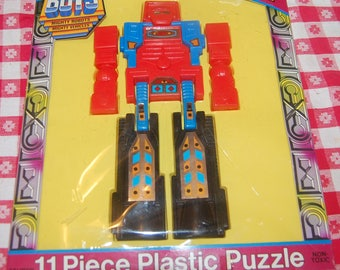 New Vintage Go Bots 11pc Plastic 3D Puzzle 1985 Tonka Transformer Mighty Robot