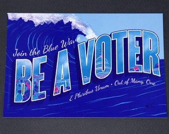 "Political Postcards: Set of 10 ""Blue Wave"" postcards, perfect for writing to your reps or get out the vote"