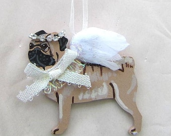 Hand-Painted PUG FAWN Feather Wing Angel Wood Christmas Ornament.....Artist Original