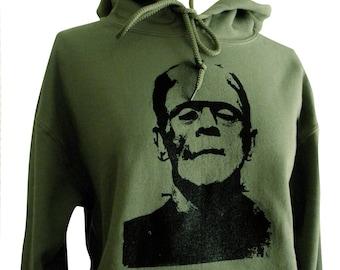 Frankenstein Hoodie - Classic Horror Monster Green Sweatshirt - Unisex Sizes S, M, L, XL