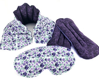 Heat Therapy Rice Bag, Heating Pad, Neck Wrap, Eye Pillow, Foot Warmers, Mother's Day Gift Set, Relaxation Set, Pain Relief, Essential Oil