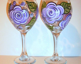Bridesmaids Gift Bachelorette Party Personalization Mother of the Bride Bridal Shower Hand Painted Wine Glasses Lavender Rose 2 - 20 oz.
