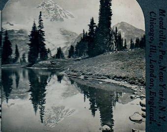 Stereoview Mount Rainier Reflected in Mirror Lake Washington