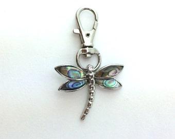 Dragonfly Keychain - Women Dragonfly Gift Her Stocking Stuffer - Silver Abalone Shell Key Ring - Silver Purse Charm Clip Handbag Zipper Pull