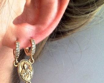 Double hoop rosary earring